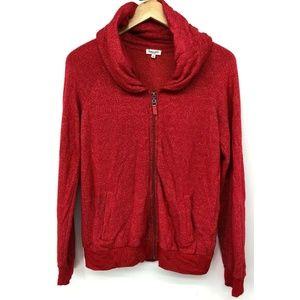 Splendid Womens Sweatshirt Zip Up Xs Red Pockets C